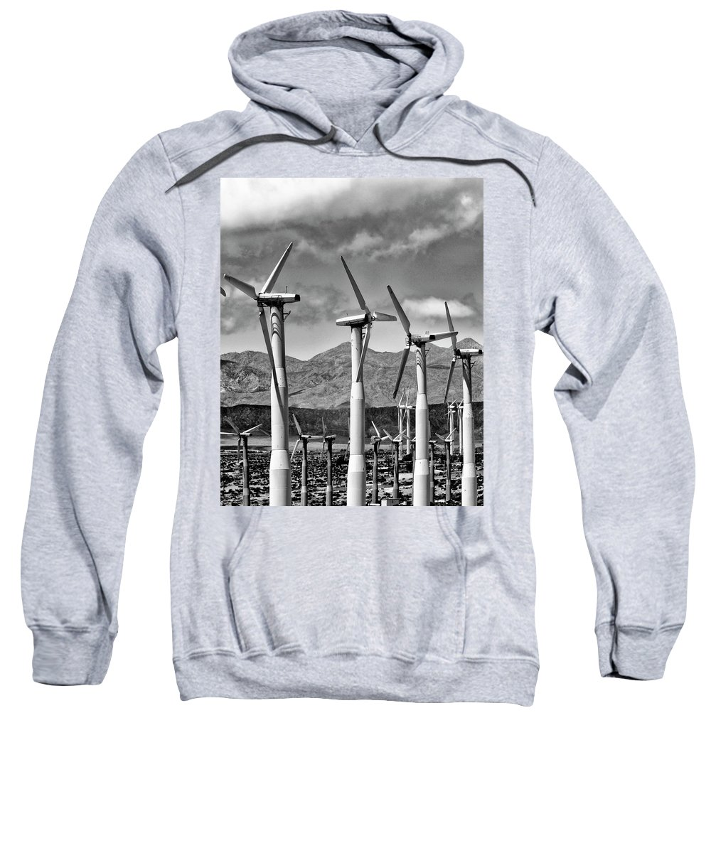 Windmills Sweatshirt featuring the photograph Wind Turbines Palm Springs by William Dey