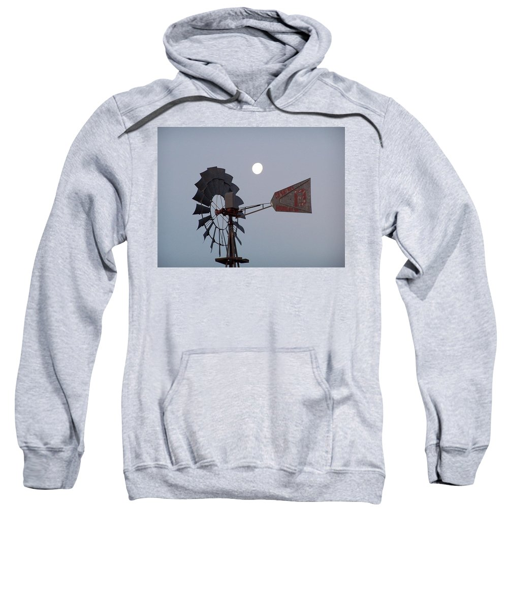Windmill Sweatshirt featuring the photograph Windmill Moon by Gale Cochran-Smith