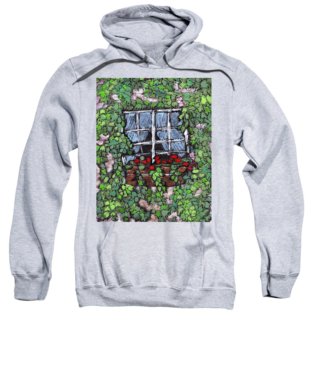Flowers Sweatshirt featuring the painting Window Flower Box by Wayne Potrafka