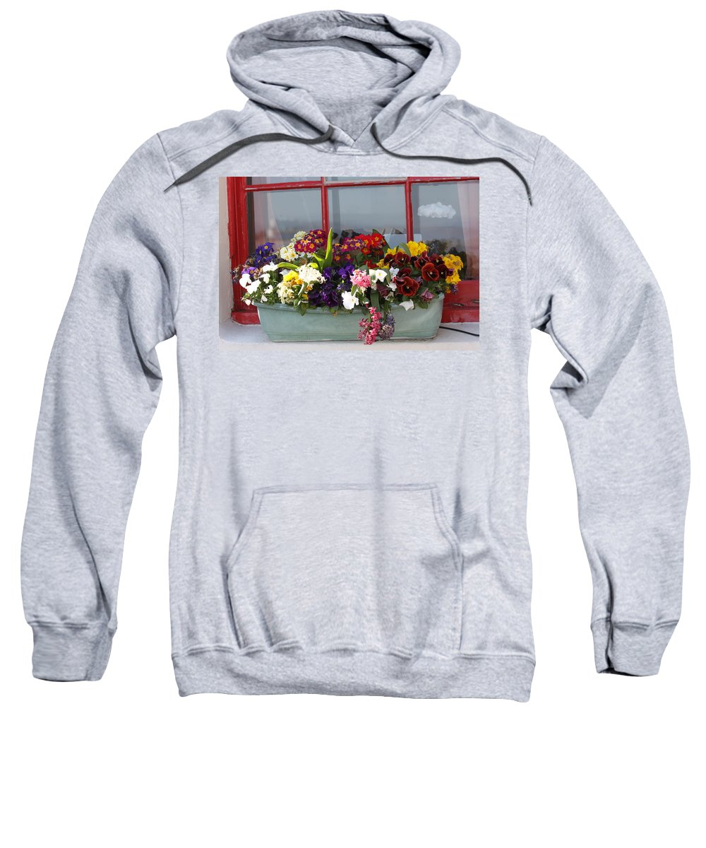 Flowers Sweatshirt featuring the photograph Window Flowers by Lauri Novak