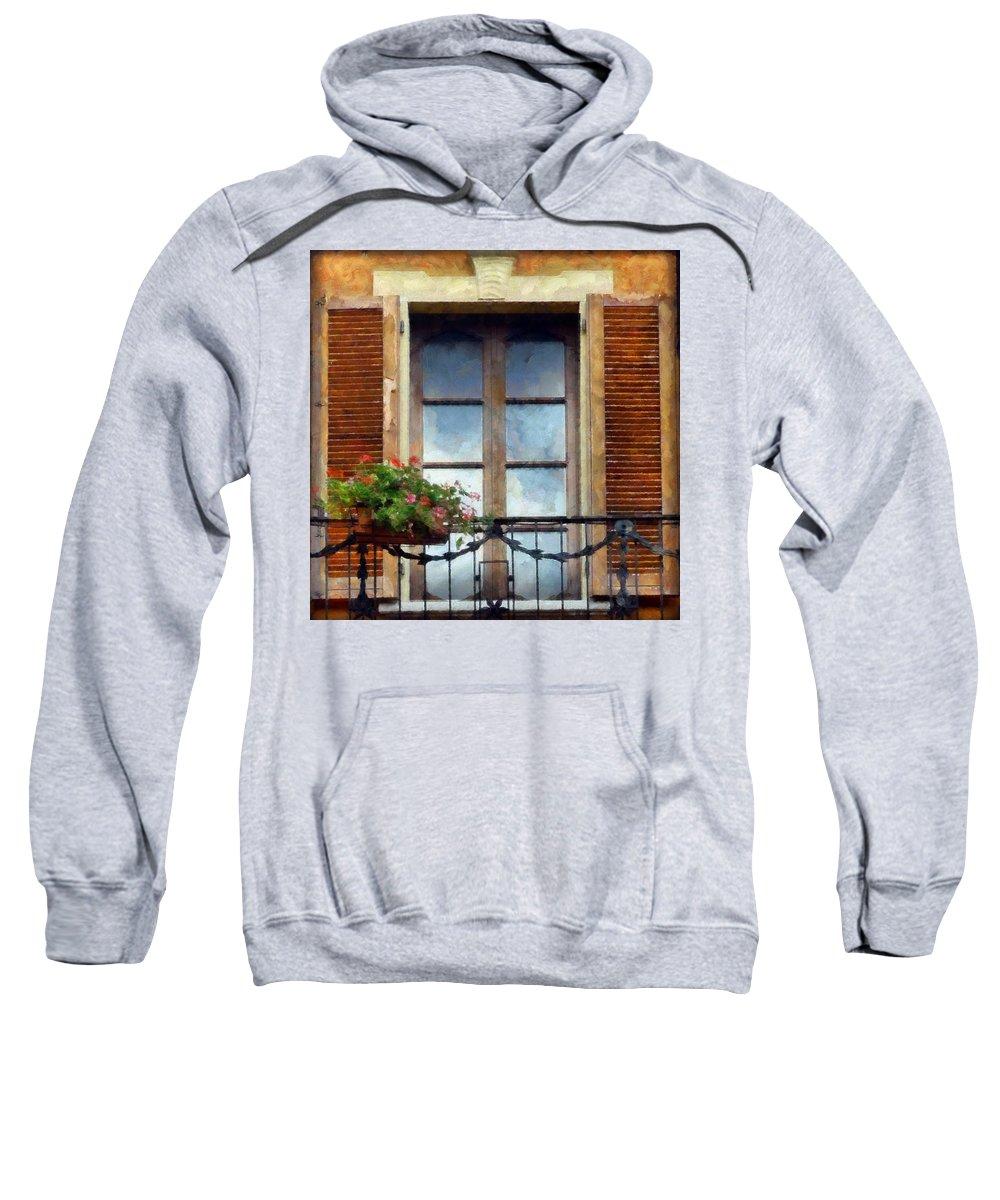 Window Sweatshirt featuring the digital art Window Shutters And Flowers I by Ronald Bolokofsky