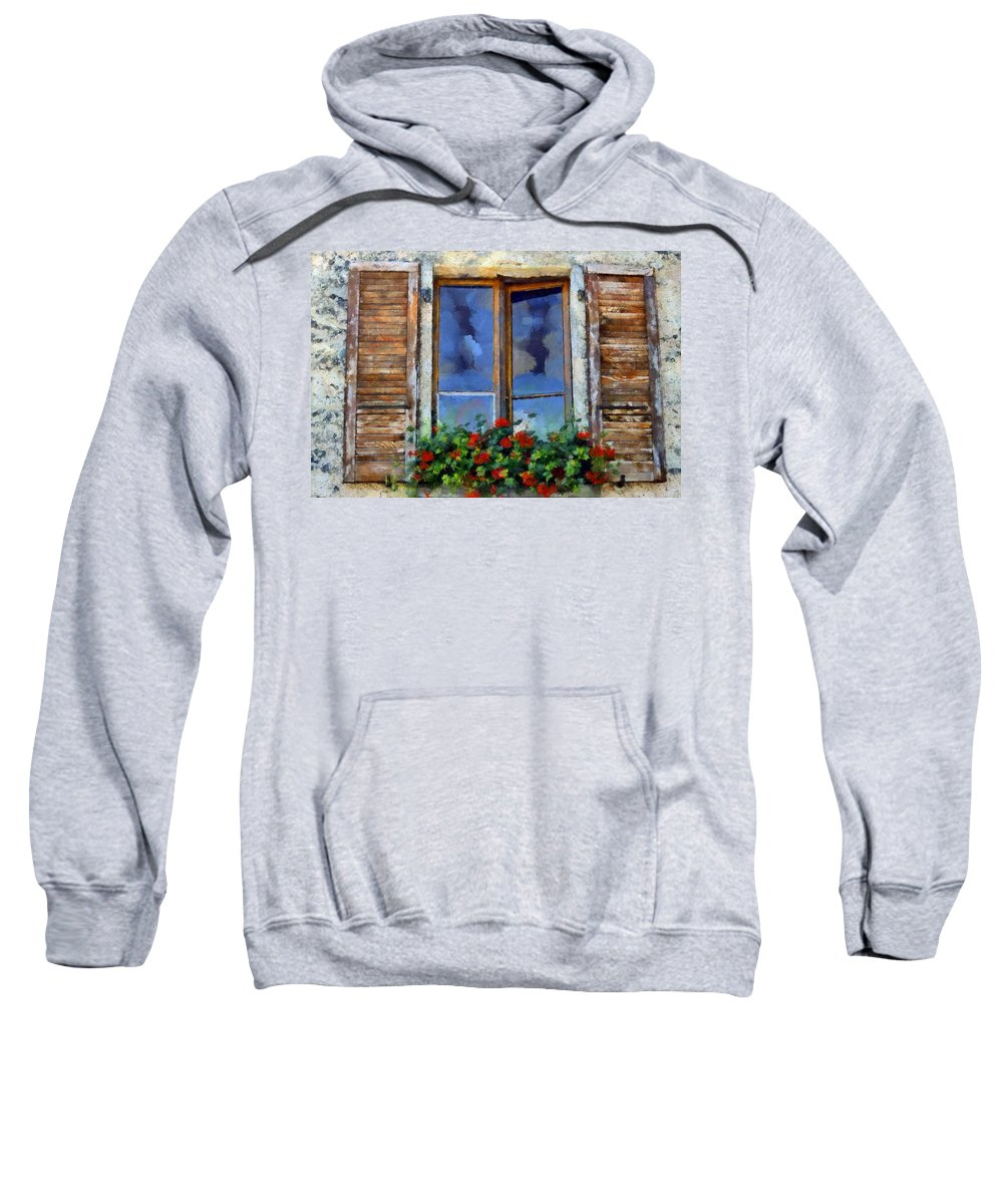Window Sweatshirt featuring the digital art Window Shutters And Flowers IIi by Ronald Bolokofsky