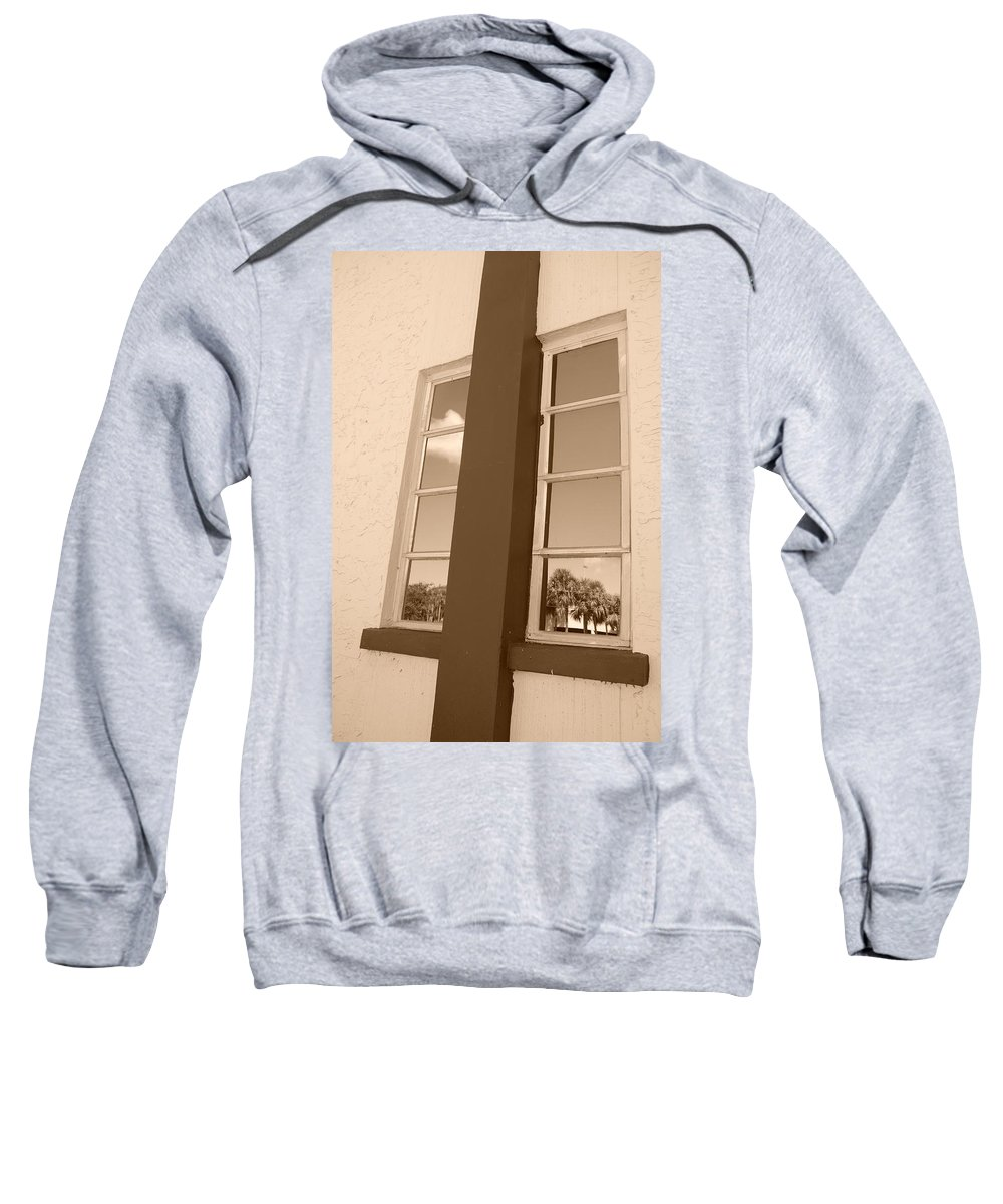 Sepia Sweatshirt featuring the photograph Window T Glass by Rob Hans