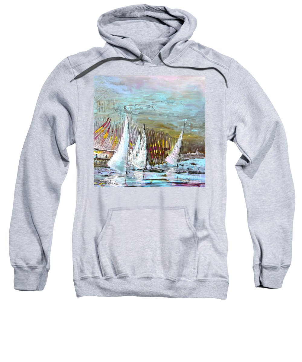 Acrylics Sweatshirt featuring the painting Windsurf Impression 03 by Miki De Goodaboom