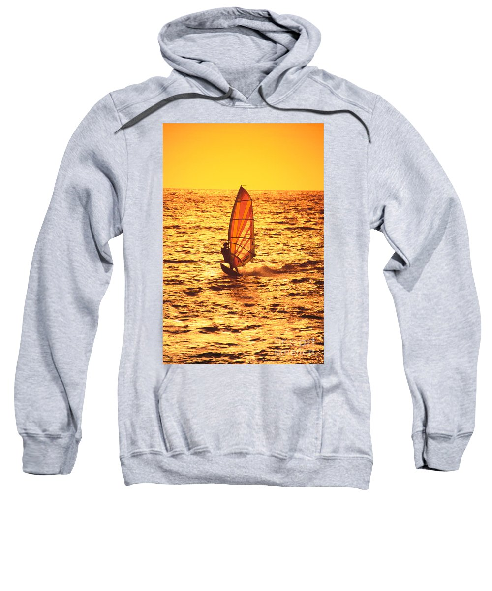 Afternoon Sweatshirt featuring the photograph Windsurfer At Sunset by Dave Fleetham - Printscapes