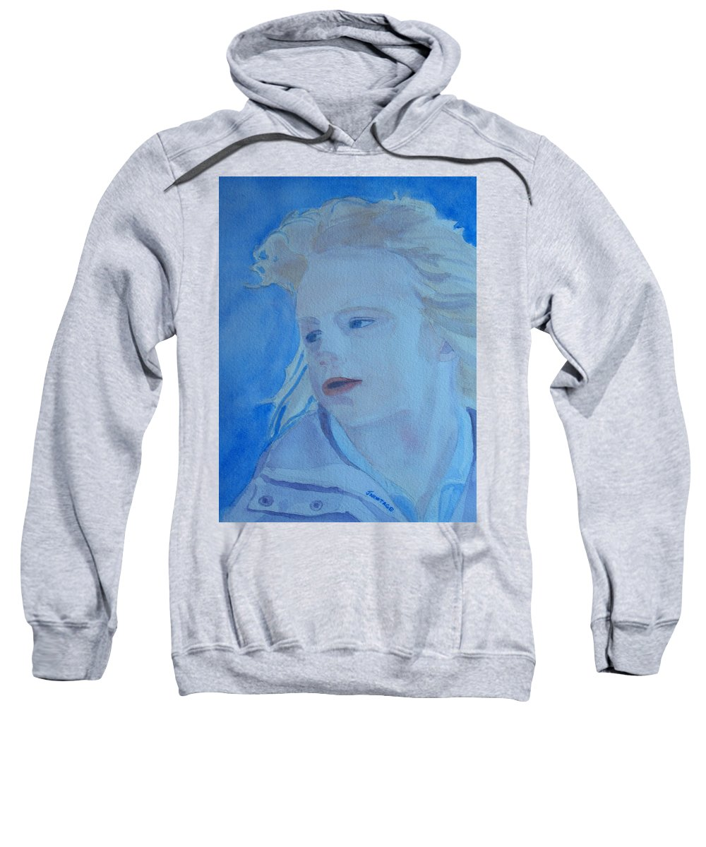 Portrait Portraits Sweatshirt featuring the painting Windswept by Jenny Armitage