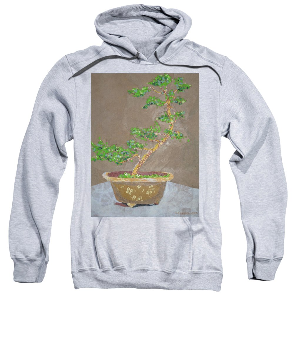Banzai Tree Sweatshirt featuring the painting Windswept Juniper by Leah Tomaino