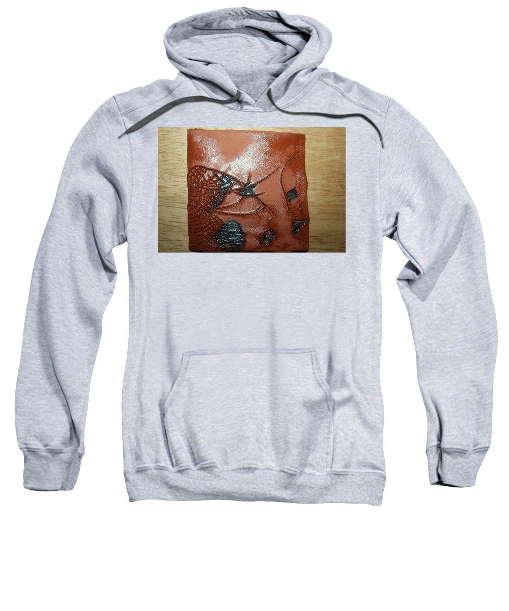Jesus Sweatshirt featuring the ceramic art Windswept- Tile by Gloria Ssali