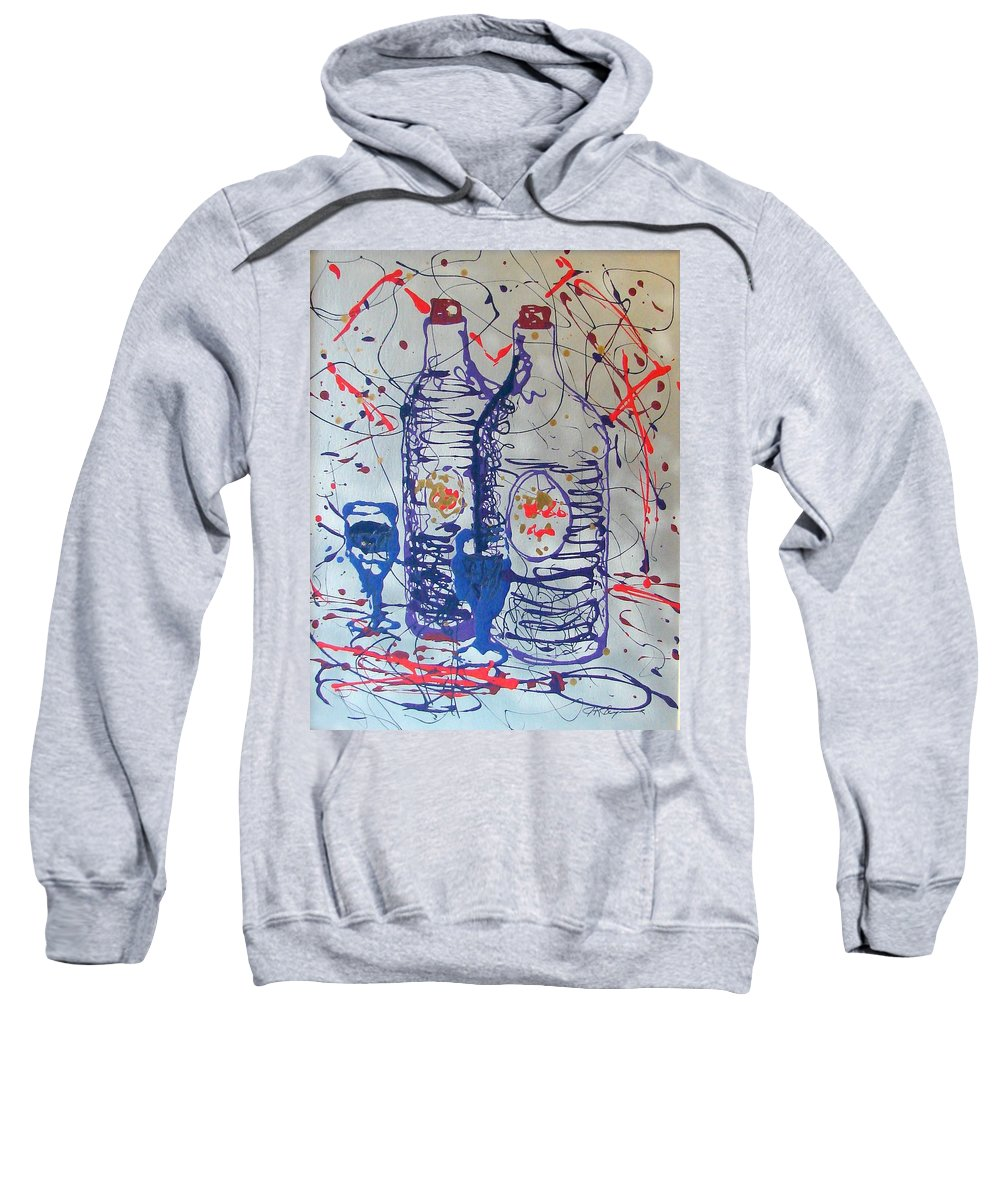 Wine Glass And Bottles Sweatshirt featuring the painting Wine Jugs by J R Seymour