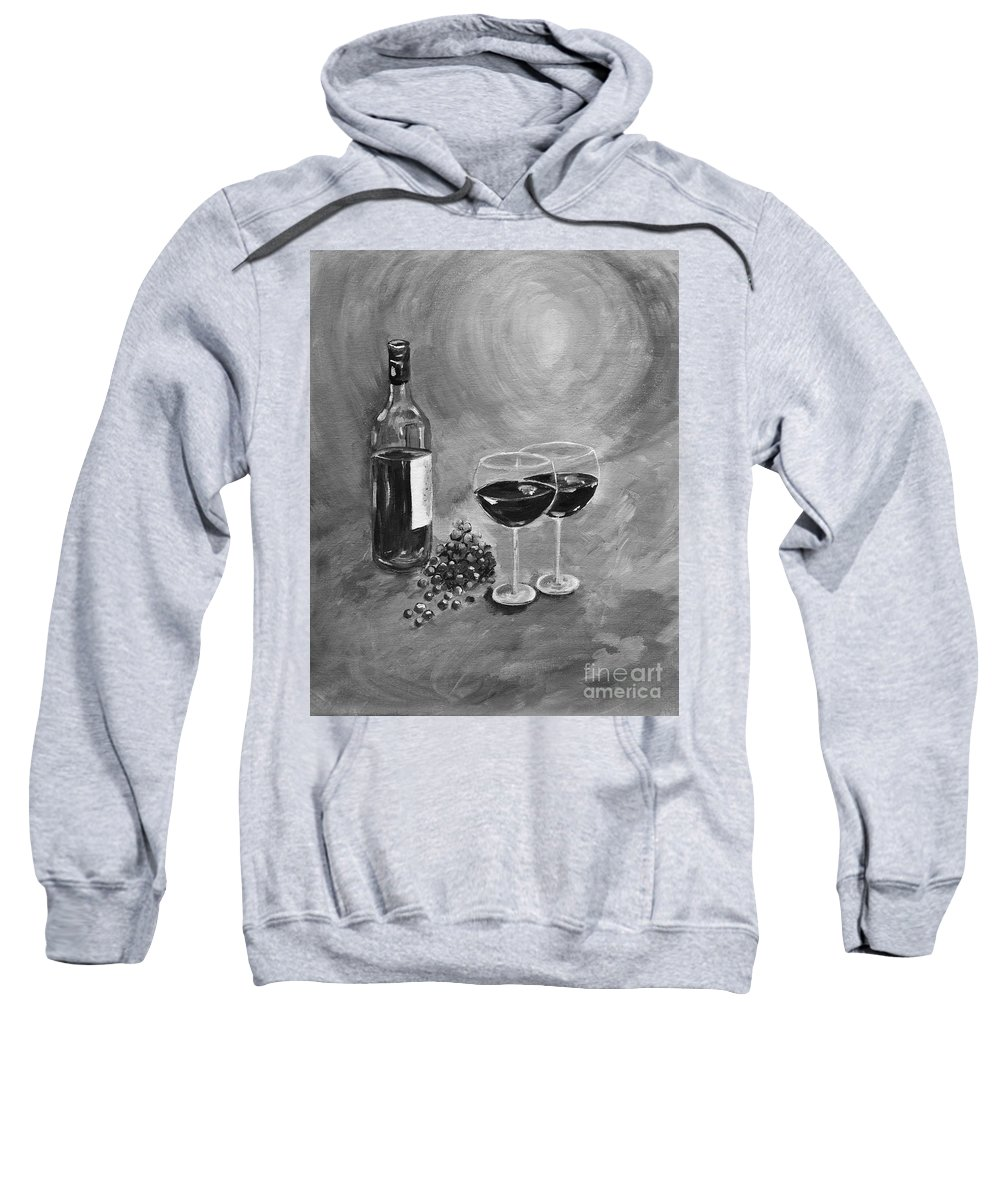 Wine Sweatshirt featuring the painting Wine On My Canvas - Black And White - Wine For Two by Jan Dappen