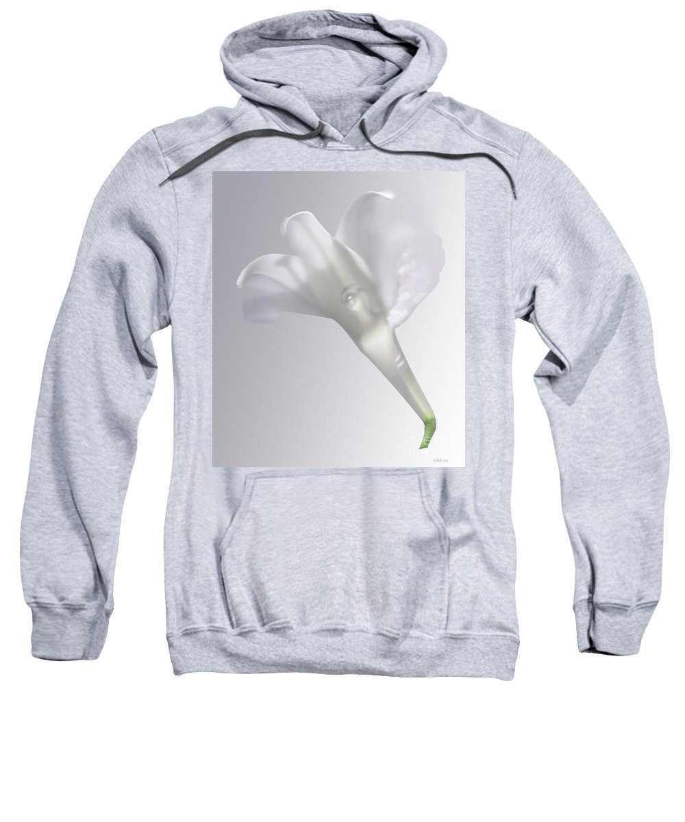 Sweatshirt featuring the photograph Winged Woman In White Lily by Heather Kirk