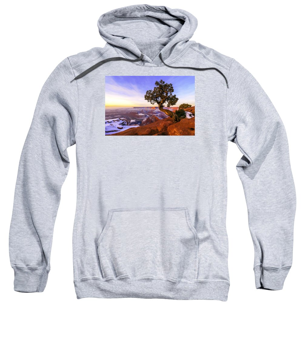 Winter At Dead Horse Sweatshirt featuring the photograph Winter At Dead Horse by Chad Dutson