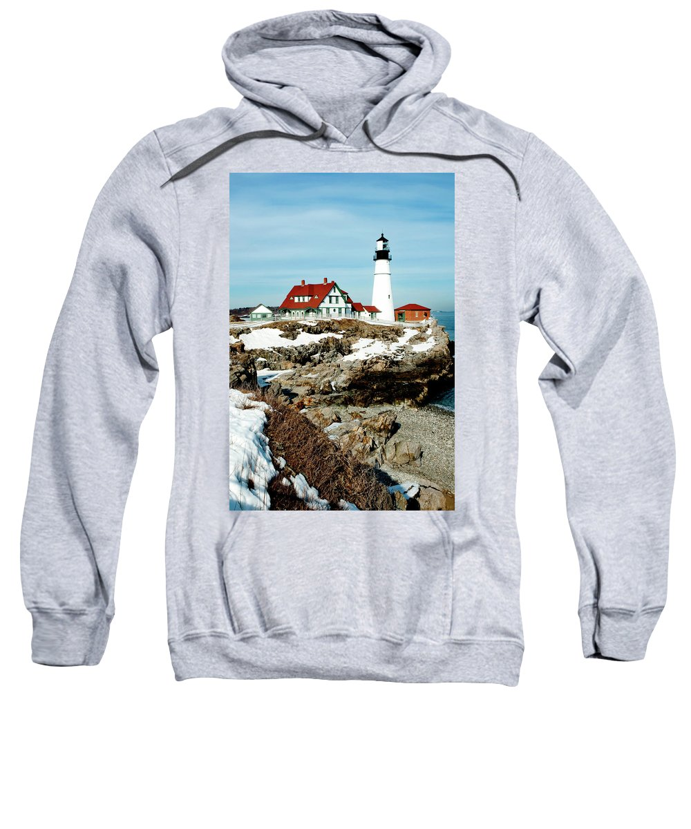 Coast Sweatshirt featuring the photograph Winter At Portland Head by Greg Fortier