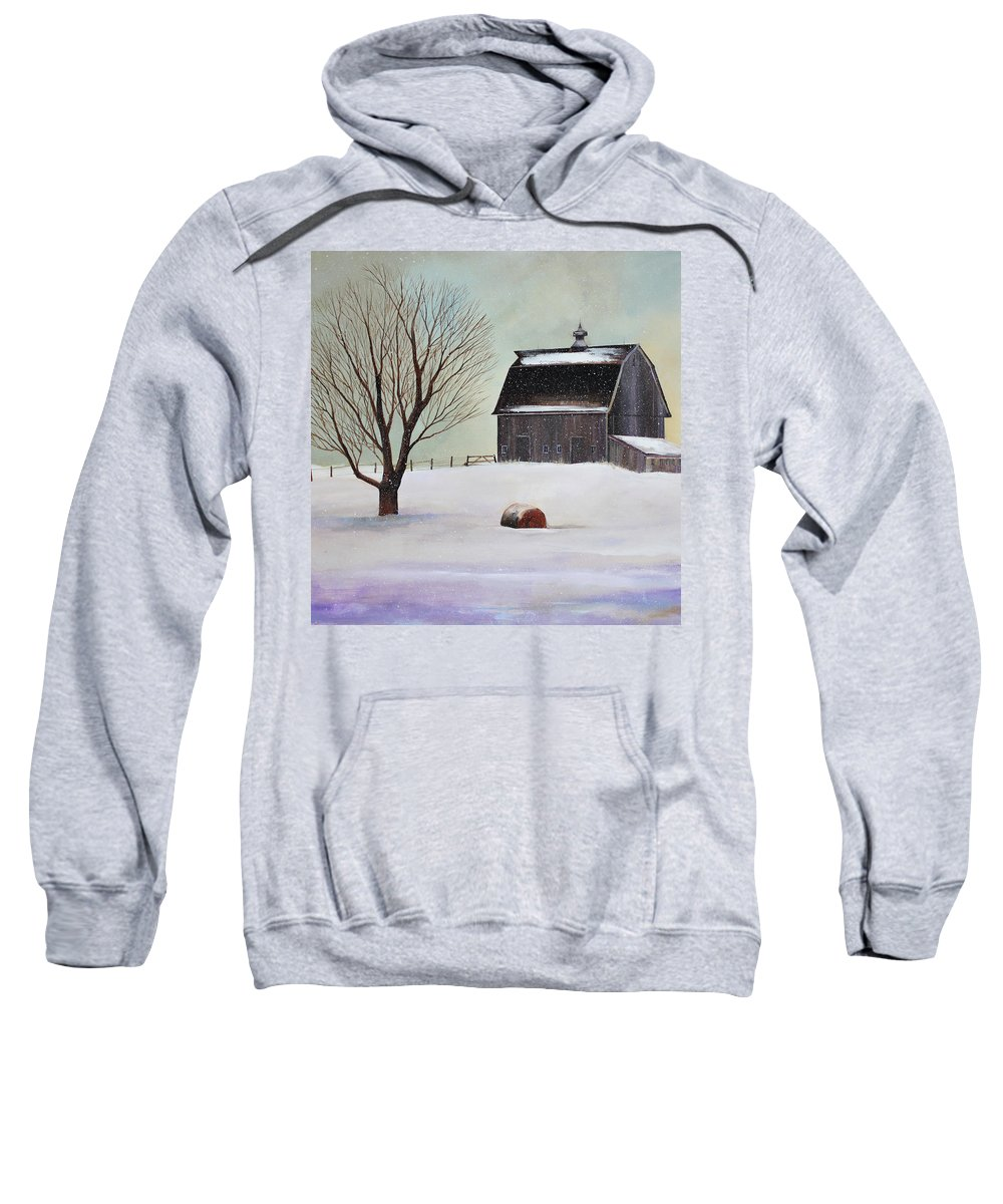 Barn Sweatshirt featuring the painting Winter Barn II by Toni Grote