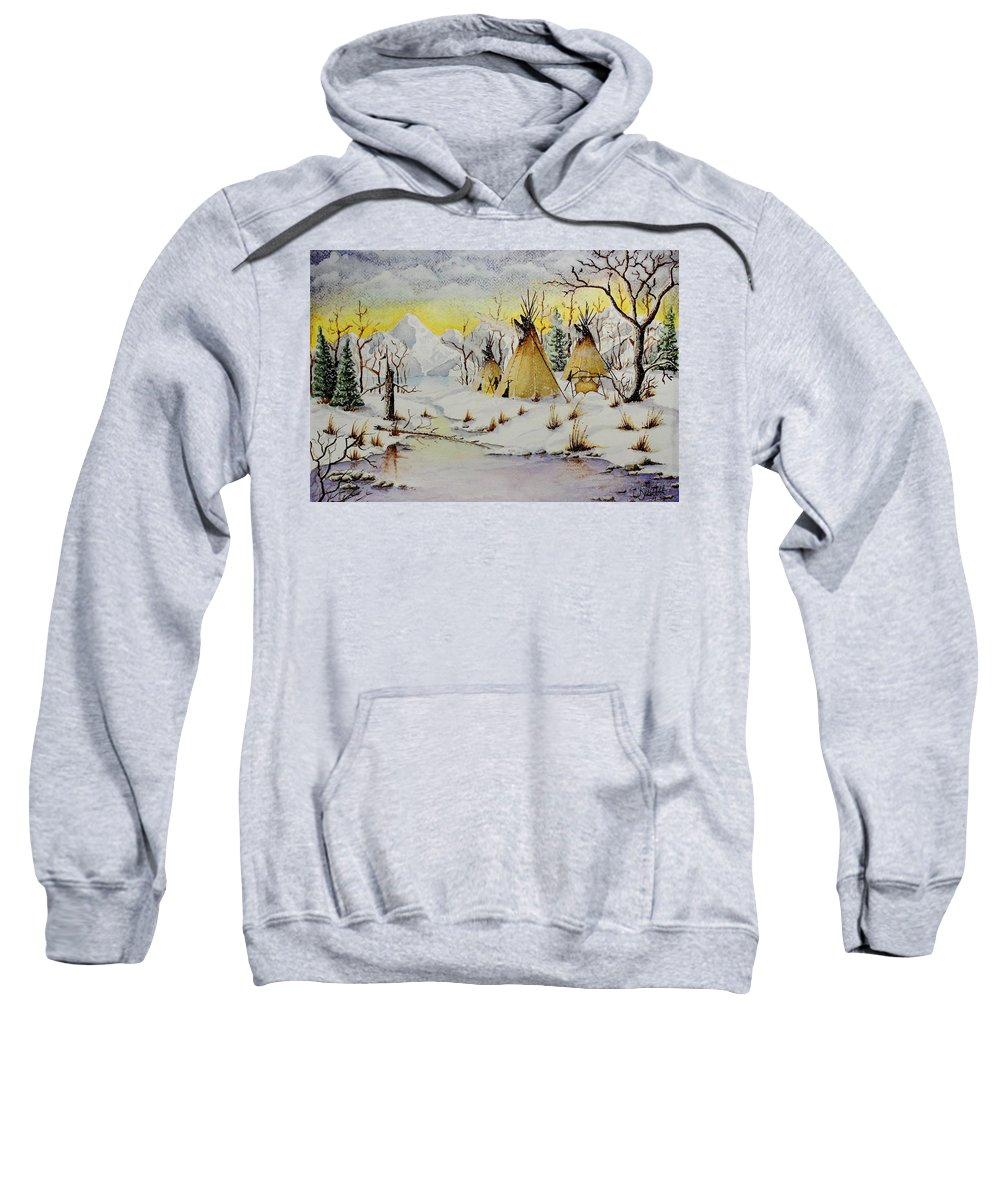 American Sweatshirt featuring the painting Winter Camp by Jimmy Smith