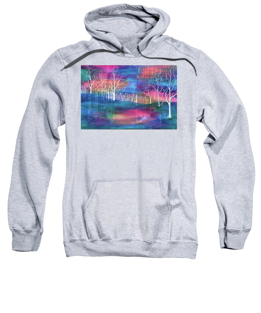 Trees Sweatshirt featuring the painting Winter Embraces Spring by Michelle Anderson