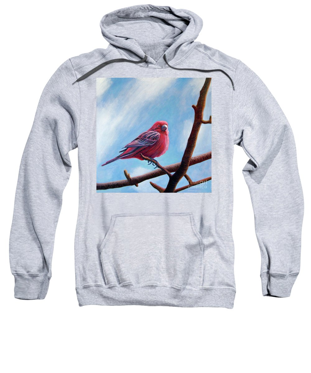 Bird Sweatshirt featuring the painting Winter Finch by Brian Commerford