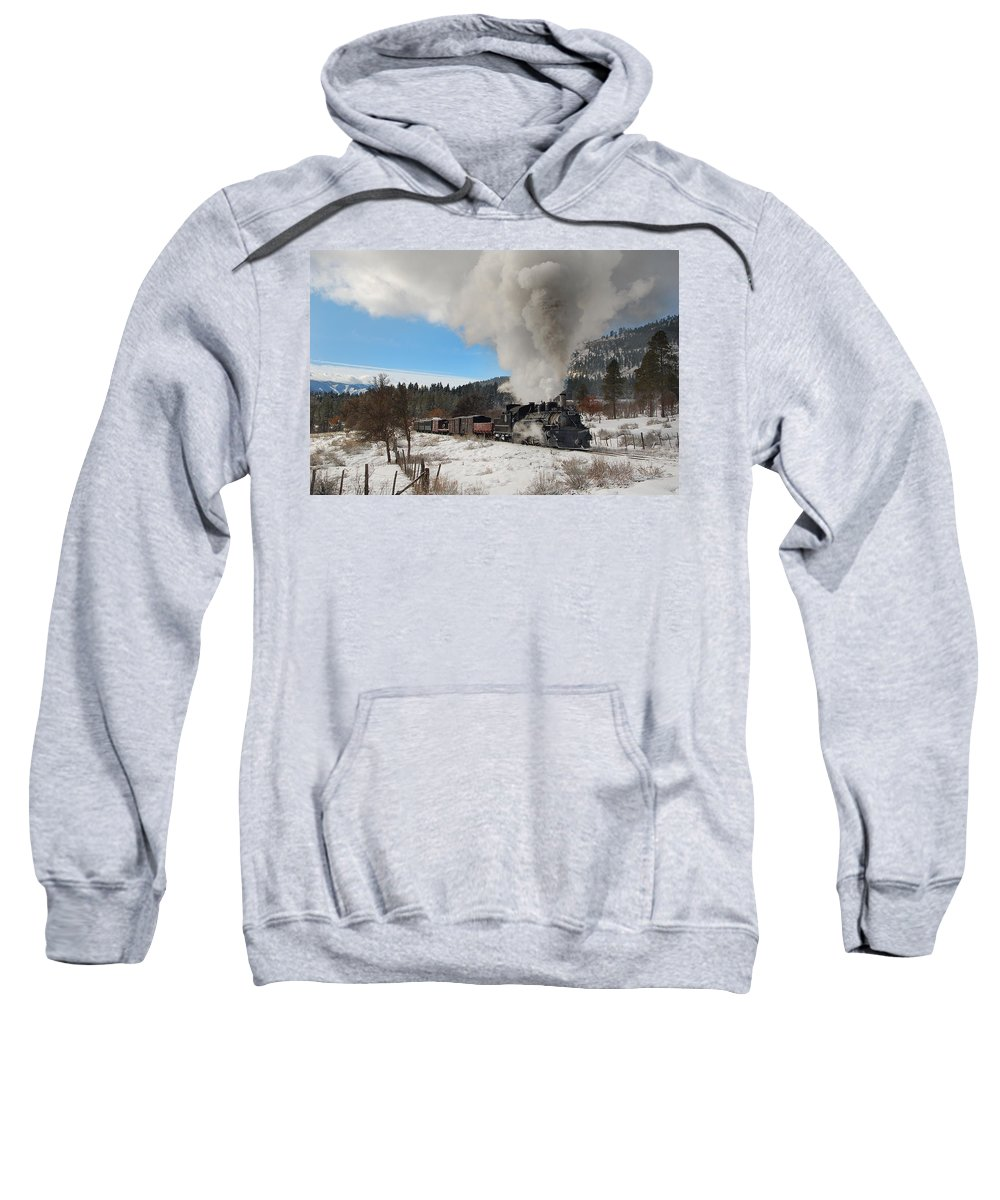 Steam Train Photographs Sweatshirt featuring the photograph Winter Freight Special by Ken Smith