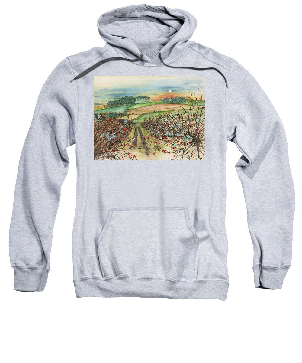 Hedge Sweatshirt featuring the painting Winter Hedgerow by Lynne Henderson