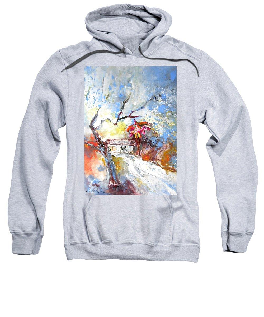 Spain Sweatshirt featuring the painting Winter In Spain by Miki De Goodaboom