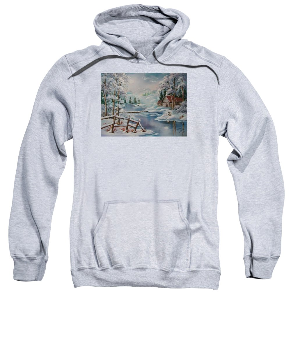 Winter Scapes Sweatshirt featuring the painting Winter In The Valley by Irene Clarke