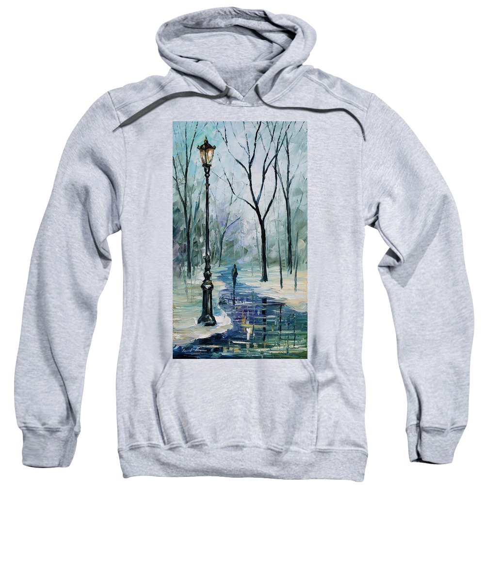 Afremov Sweatshirt featuring the painting Winter Light by Leonid Afremov