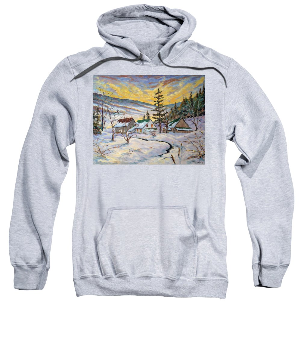 Landscape Sweatshirt featuring the painting Winter Lights by Richard T Pranke