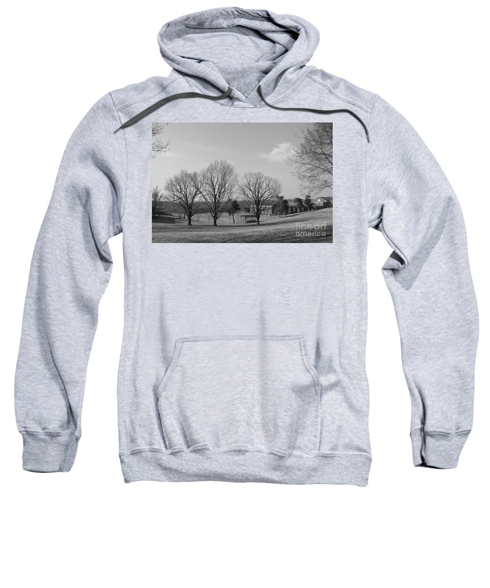 B&w Sweatshirt featuring the photograph Winter Looking At The Dell by Katherine W Morse