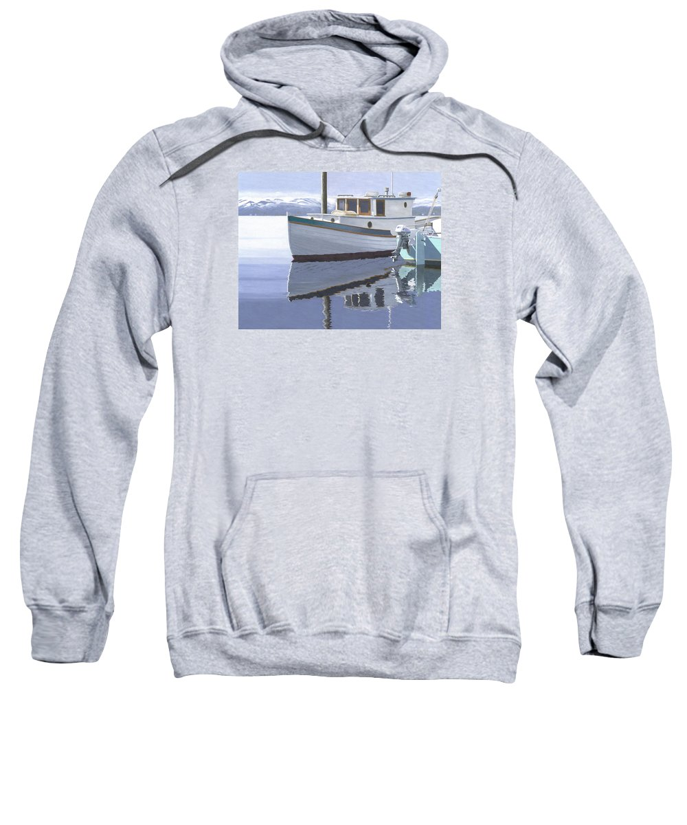 Marine Sweatshirt featuring the painting Winter Moorage by Gary Giacomelli