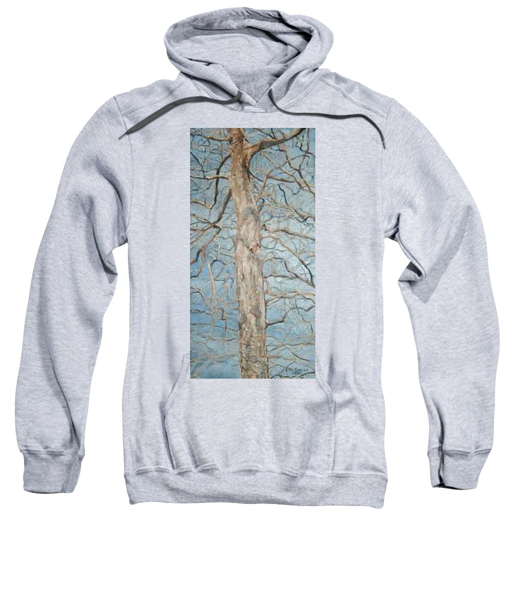 Tree Sweatshirt featuring the painting Winter Morning by Leah Tomaino