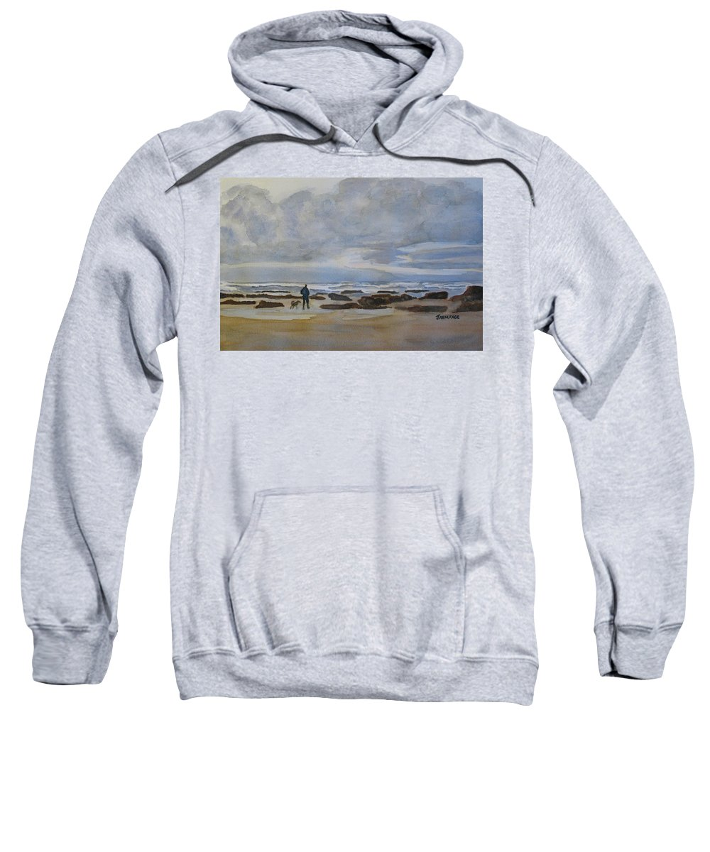 Beach Sweatshirt featuring the painting Winter Morning Solitude II by Jenny Armitage