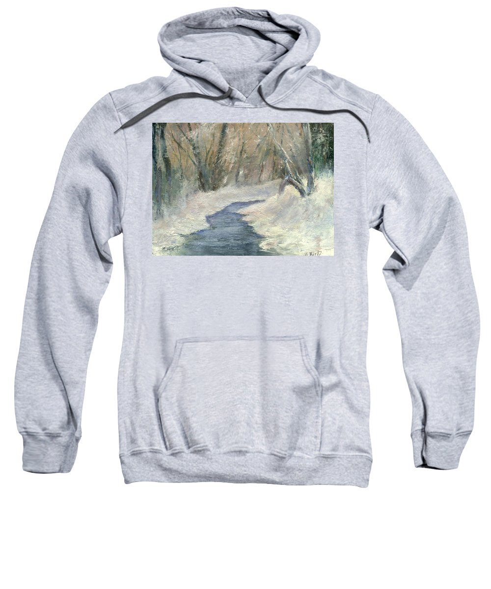 Snow Sweatshirt featuring the painting Winter On Stormcreek by Gail Kirtz