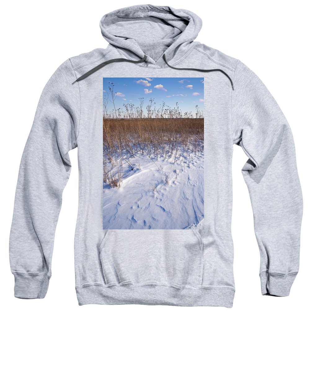 Goose Sweatshirt featuring the photograph Winter On The Prairie by Steve Gadomski
