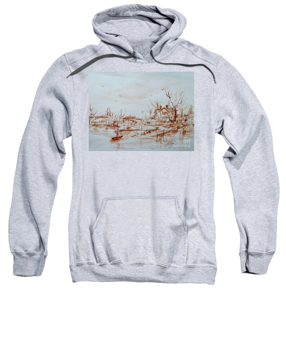 Landscape Sweatshirt featuring the painting Winter Sketch 1 by Xueling Zou