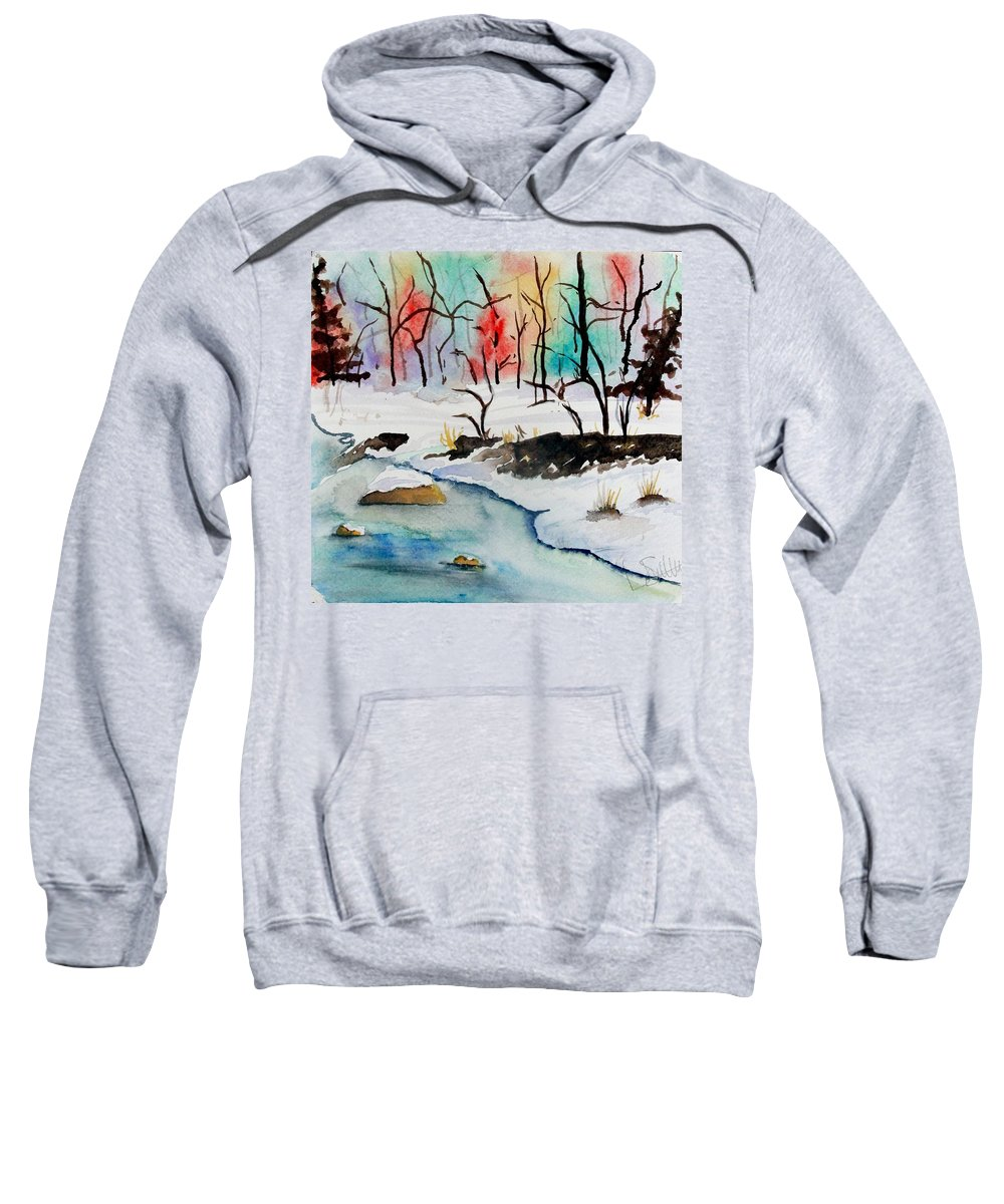 Colors Sweatshirt featuring the painting Winter Stream by Jimmy Smith