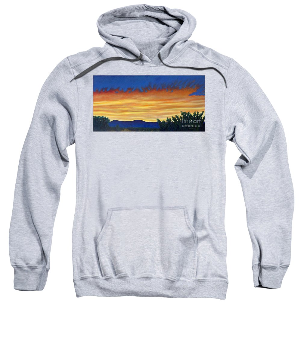 Sunset Sweatshirt featuring the painting Winter Sunset In El Dorado by Brian Commerford