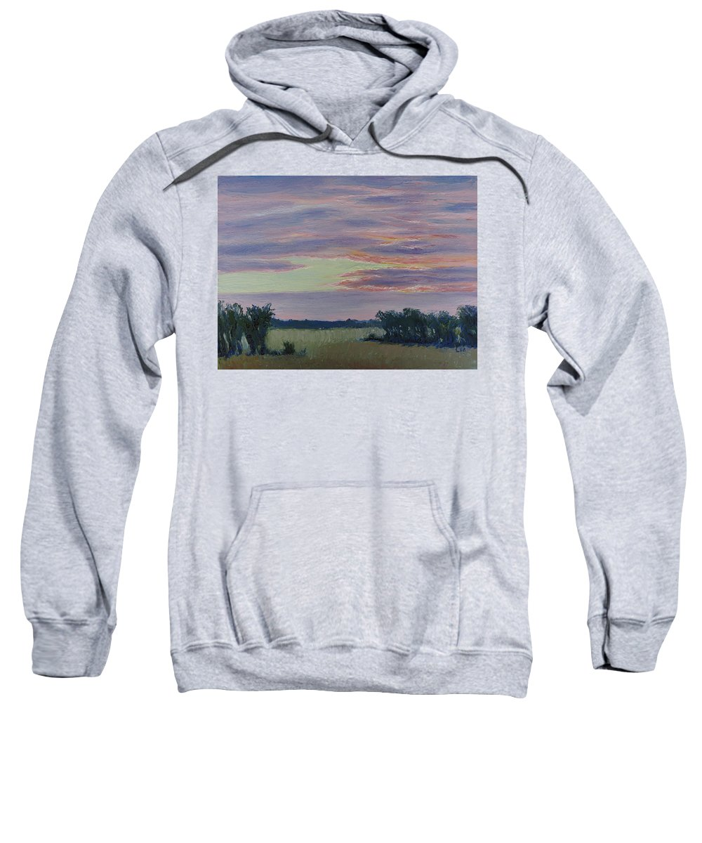 Sunset Sweatshirt featuring the painting Winter Sunset by Lea Novak