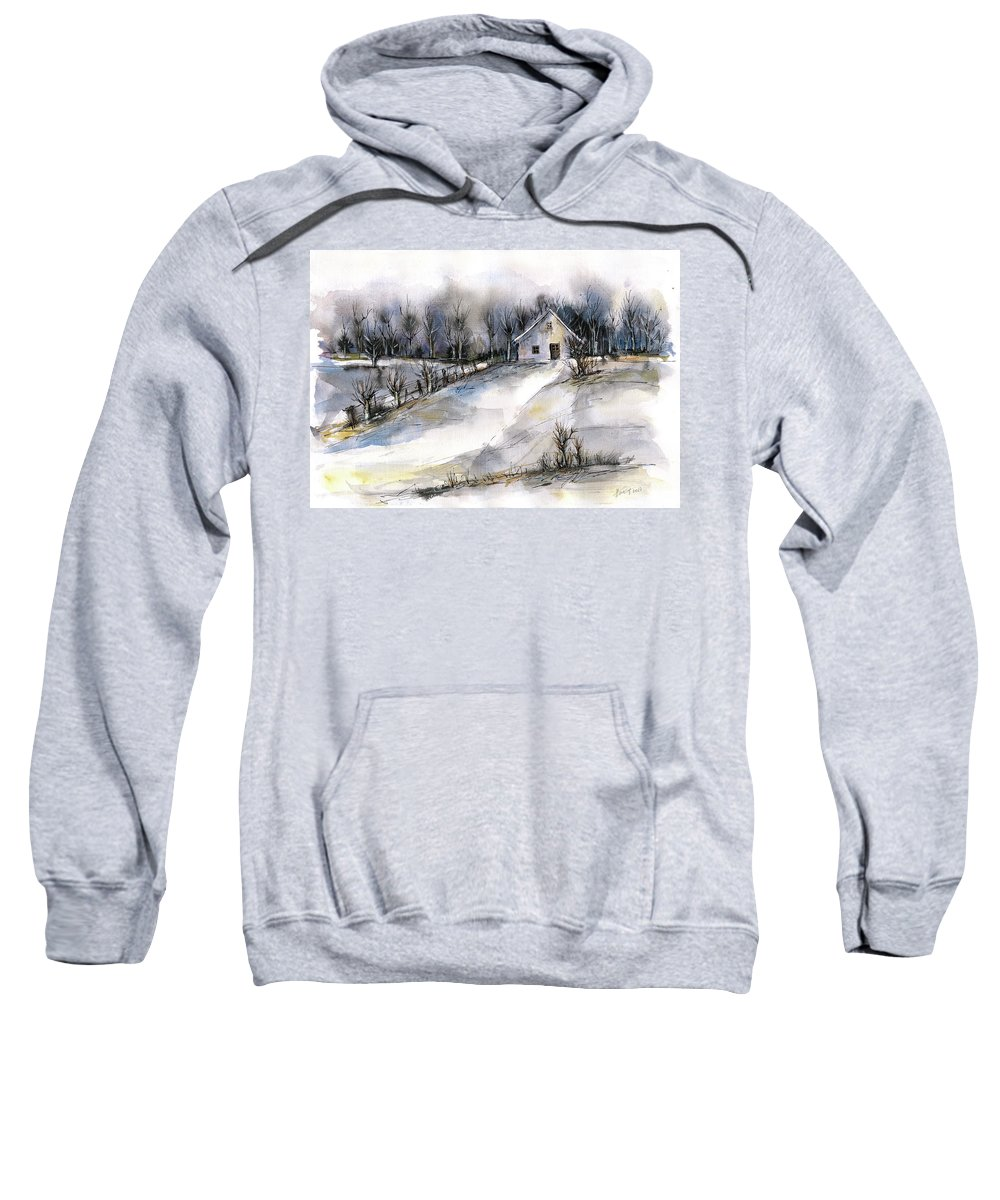Abstract Landscape Sweatshirt featuring the painting Winter Tale by Aniko Hencz