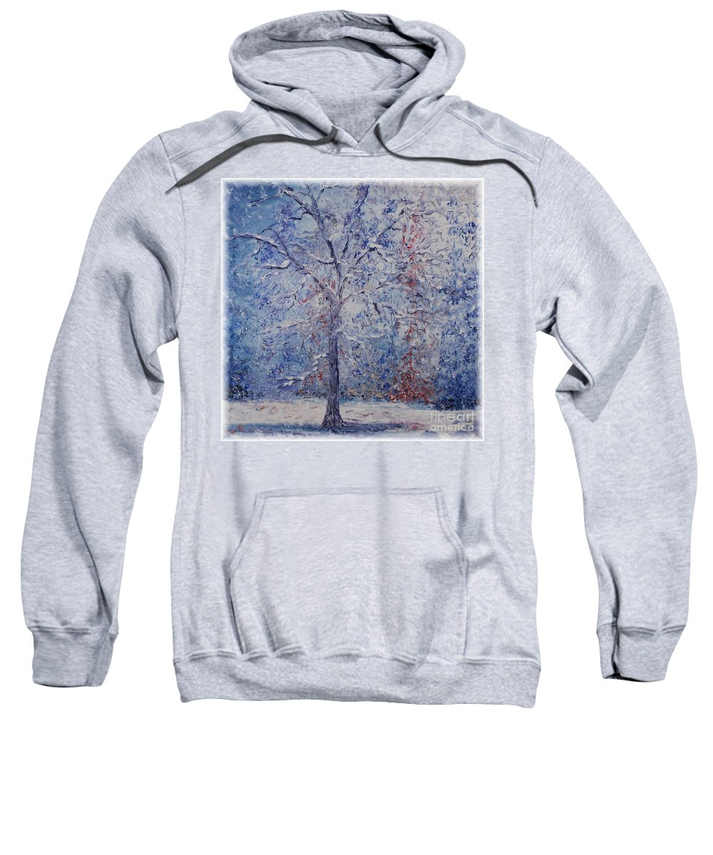 Winter Sweatshirt featuring the painting Winter Trees by Nadine Rippelmeyer