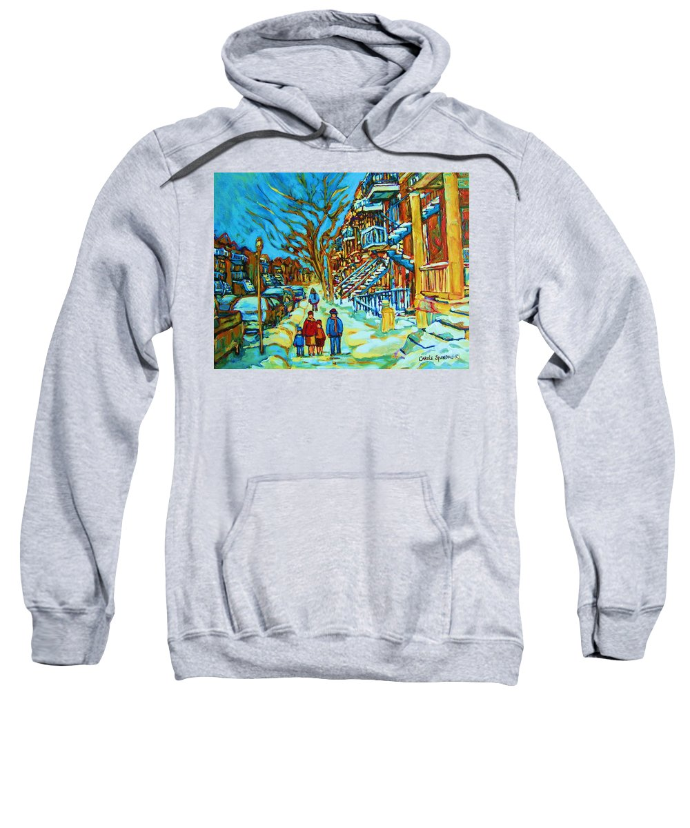 Winterscenes Sweatshirt featuring the painting Winter Walk In The City by Carole Spandau