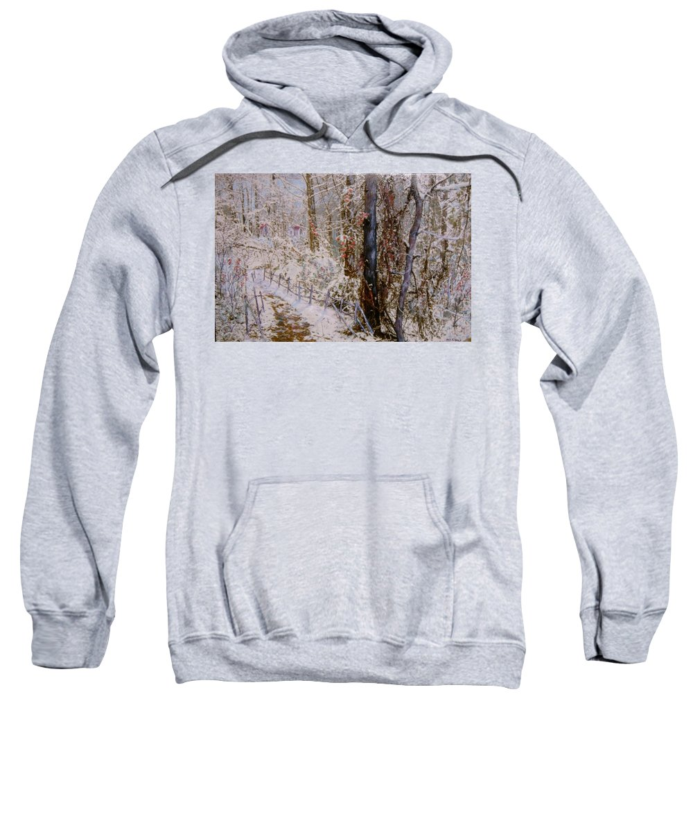 Snow; Trees Sweatshirt featuring the painting Winter Wonderland by Ben Kiger