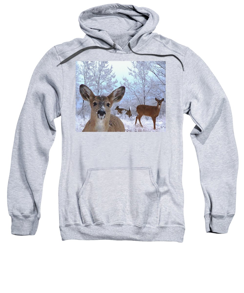 Deer Sweatshirt featuring the mixed media Winter Wonderland by Bill Stephens