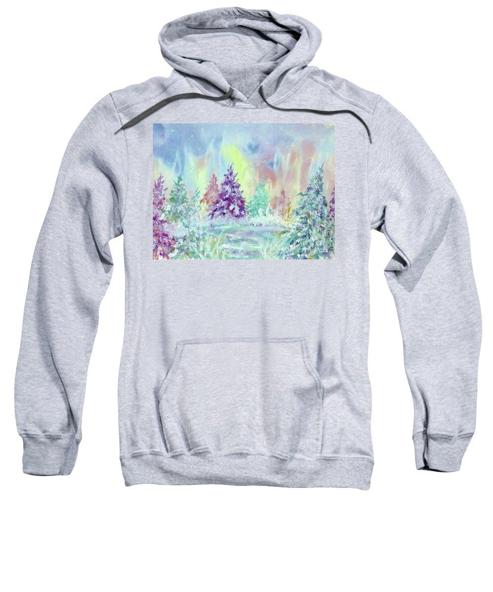 Winter Wonderland Sweatshirt featuring the painting Winter Wonderland Aurora Borealis by Ellen Levinson