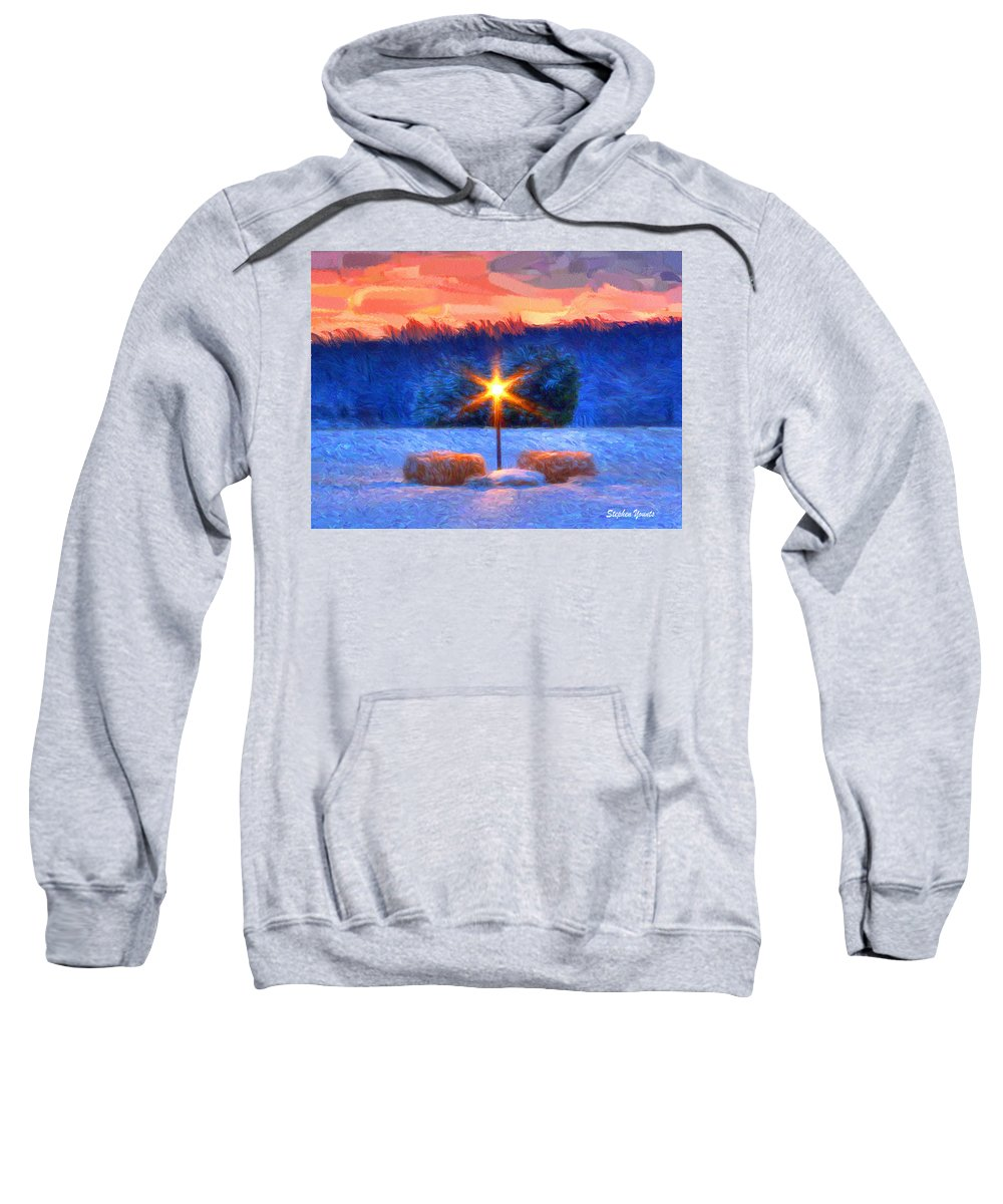 Winter Sweatshirt featuring the digital art Winter's Morn by Stephen Younts