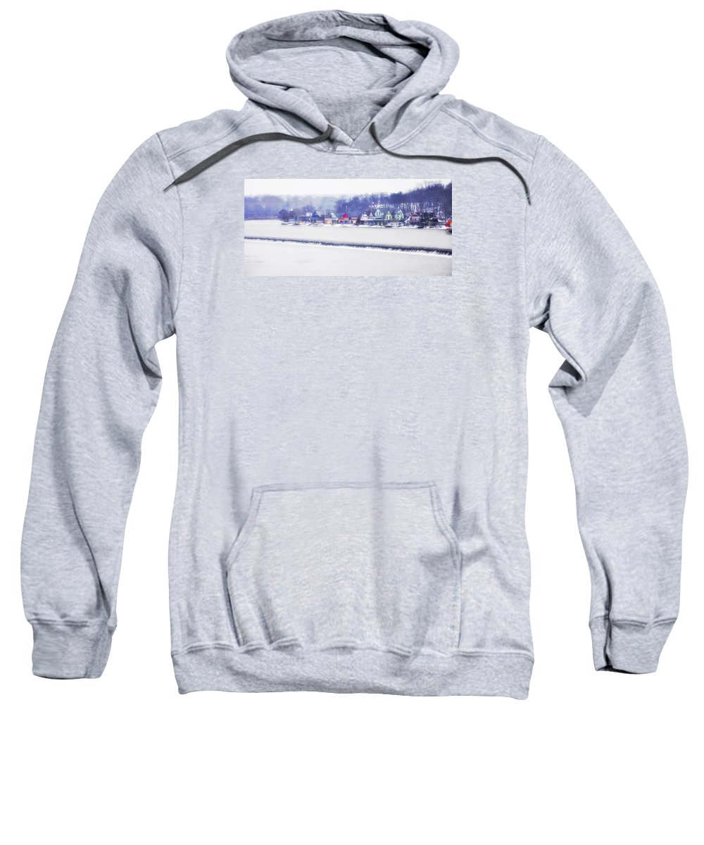 Wintertime Sweatshirt featuring the photograph Wintertime At The Fairmount Dam And Boathouse Row by Bill Cannon
