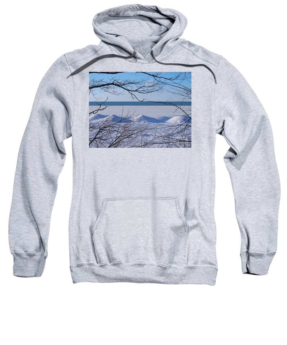 Winter Sweatshirt featuring the photograph Wintry Lakeshore by Ann Horn