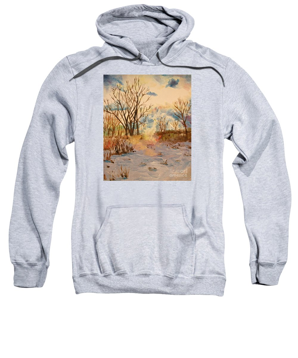 Landscape Sweatshirt featuring the painting Wintry Walk by Tina Sheppard