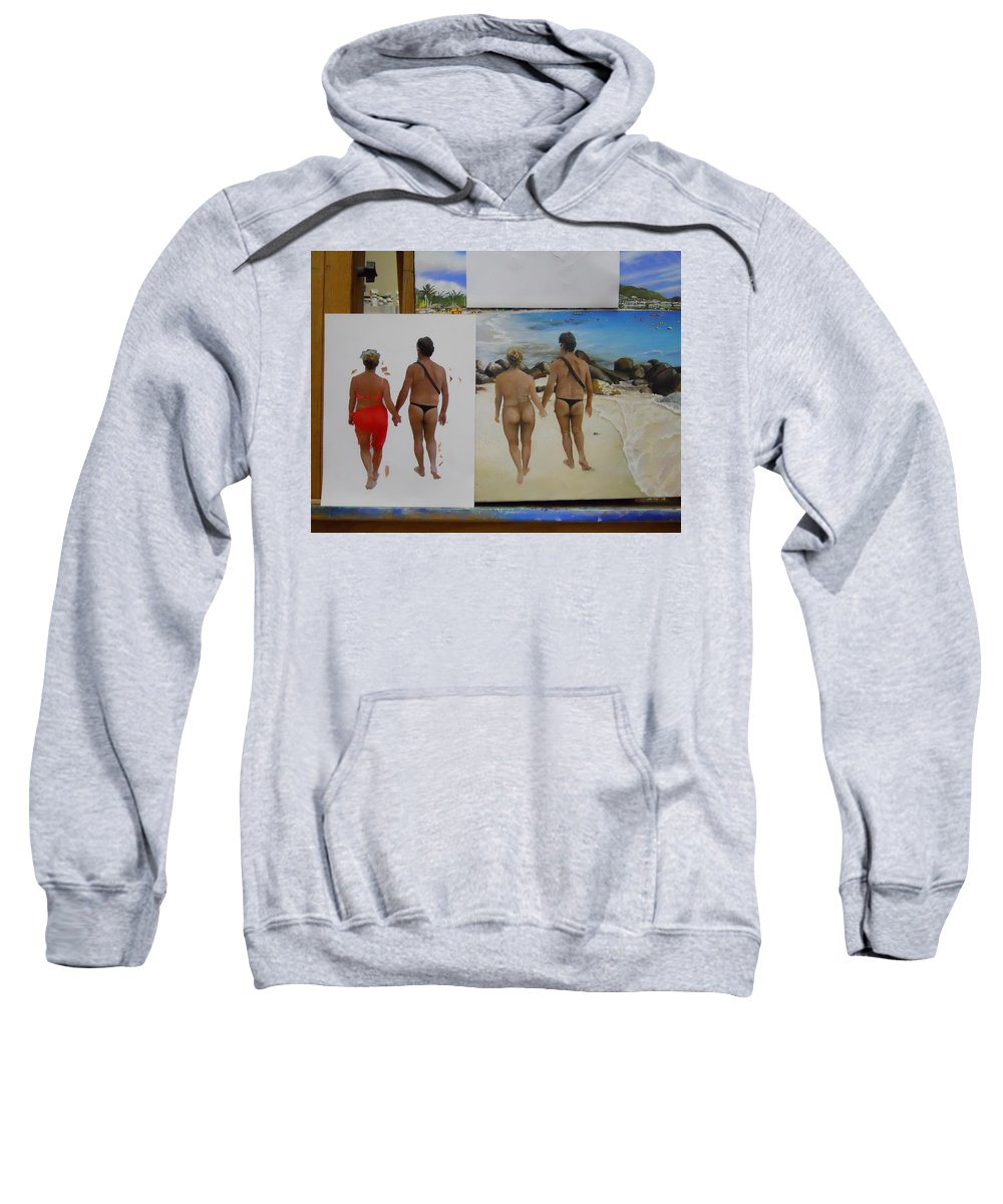 Sweatshirt featuring the painting Wip- Russ And Lloy by Cindy D Chinn