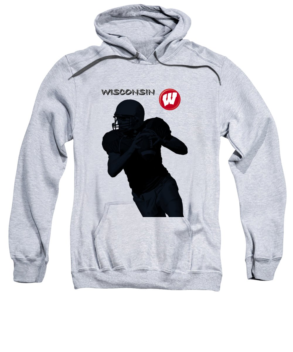 Football Sweatshirt featuring the digital art Wisconsin Football by David Dehner