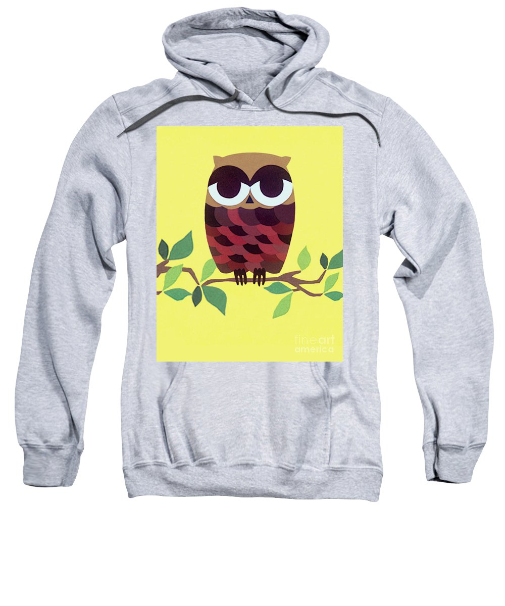 Nature Sweatshirt featuring the drawing Wise Owl by Lucyna A M Green